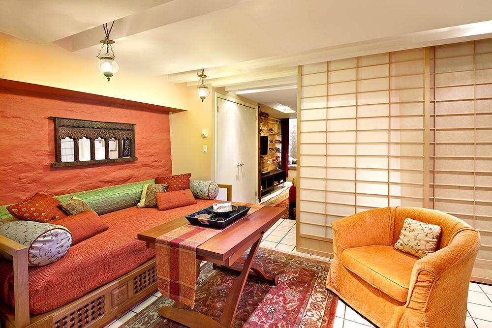 Designer Living Room in the Garden Duplex